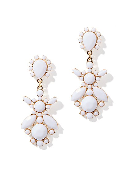 White Cabochon Cluster Earrings