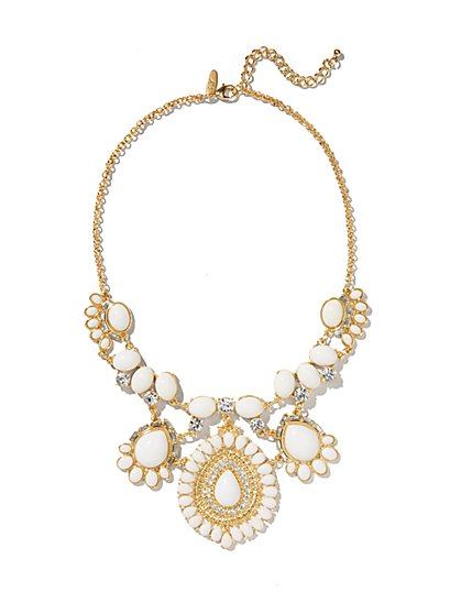 White Faux-Stone Pendant Necklace  - New York & Company