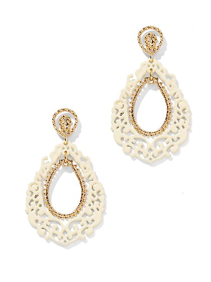 White Filigree Open-Teardrop Earring - New York & Company