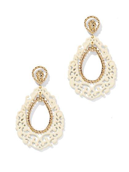 White Filigree Open-Teardrop Earring - New York & Company