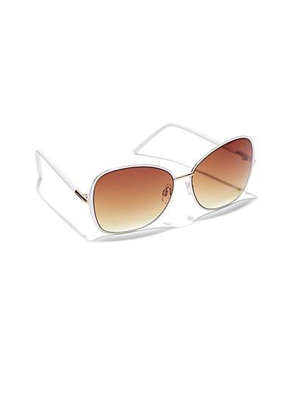 White Gold-Trim Sunglasses - New York & Company