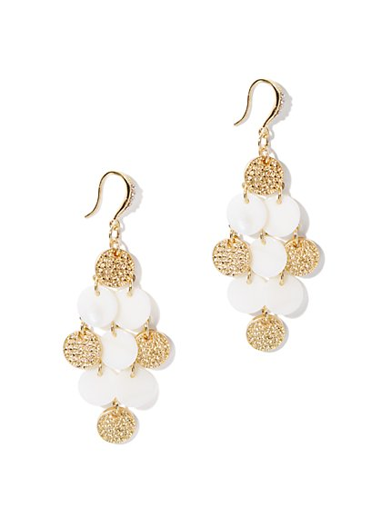 White & Golden Discs Earring - New York & Company