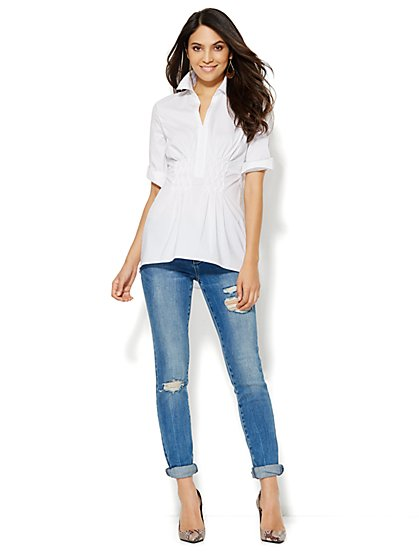 White Pintucked Popover Shirt  - New York & Company