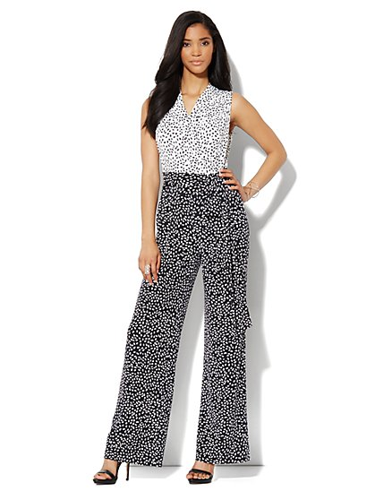 Wide-Leg Abstract-Print Jumpsuit - New York & Company