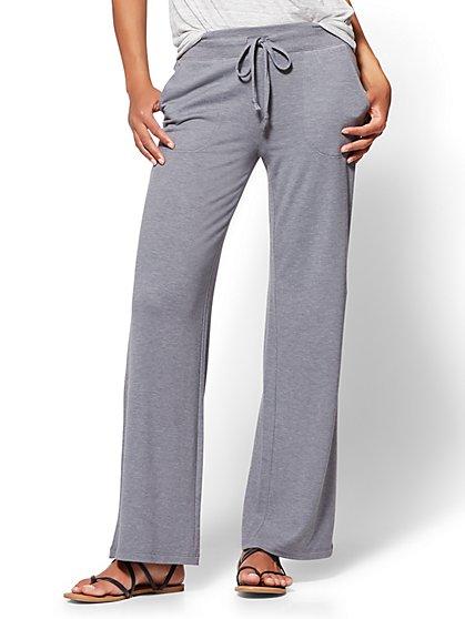 Wide-Leg Drawstring Pant - Grey - New York & Company
