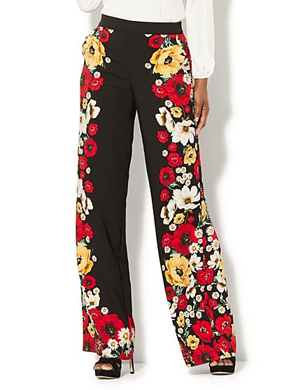 Wide-Leg Pant - Black Floral Print - New York & Company