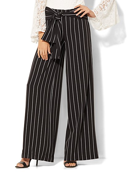 Wide-Leg Pant - Black & White Stripe - New York & Company
