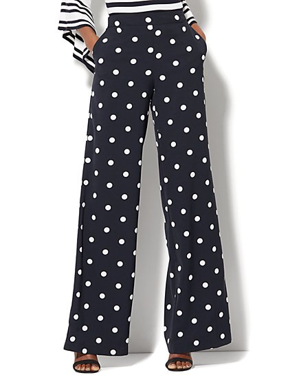 Wide-Leg Pant - Navy Polka Dot - New York & Company
