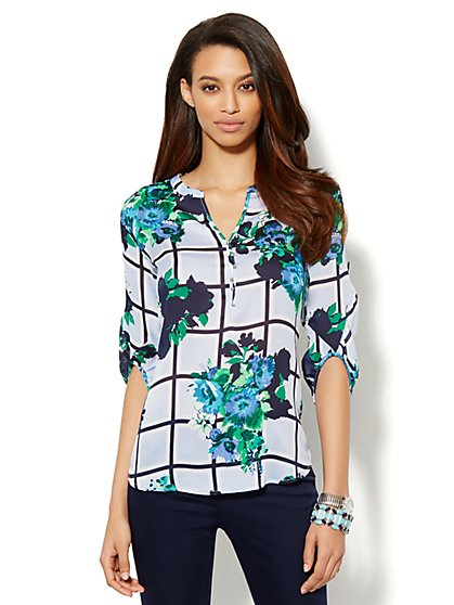 Windowpane & Floral-Print Peasant Blouse