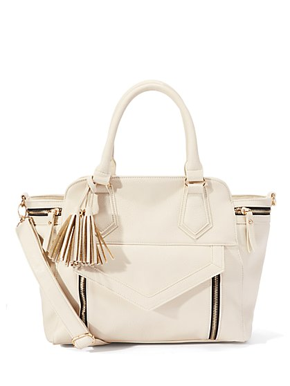 Winged Faux-Leather Tote