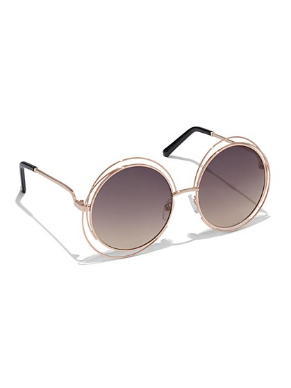 Wire-Frame Round Sunglasses   - New York & Company