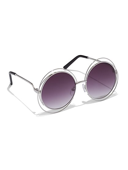 Wire-Frame Round Sunglasses   - New York & Company