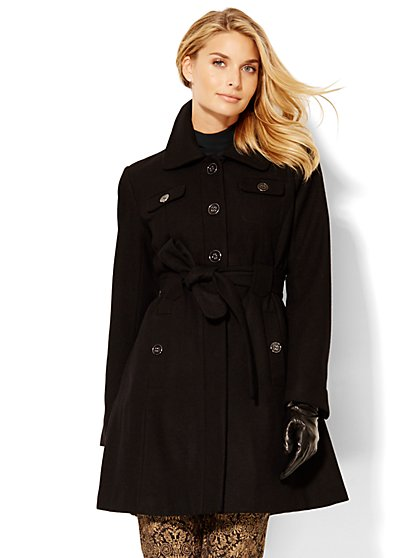 Wool-Blend Belted Coat  - New York & Company