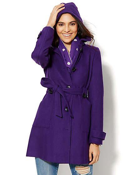 Wool-Blend Belted Hooded Coat - New York & Company