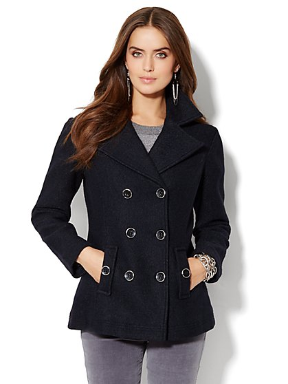 Wool-Blend Boucle Peacoat  - New York & Company