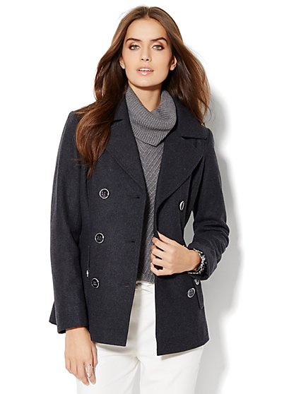 Wool-Blend Button-Accent Peacoat - Grey Heather - New York & Company