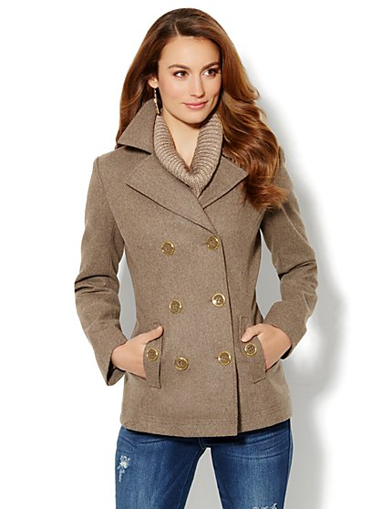 Wool-Blend Button-Accent Peacoat - New York & Company