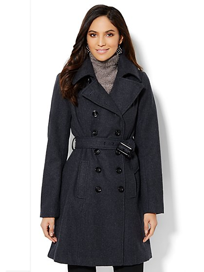 Wool-Blend Double-Breasted Coat  - New York & Company
