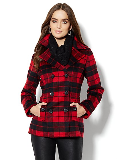 Wool-Blend Double-Breasted Plaid Peacoat - New York & Company