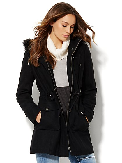 Wool-Blend Faux Fur-Trim Hooded Coat  - New York & Company