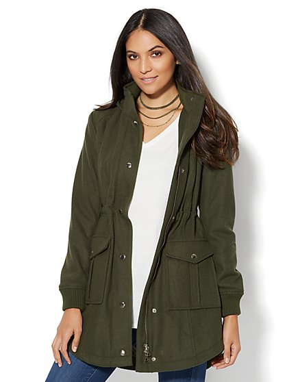 Wool-Blend Hooded Anorak Coat - New York & Company