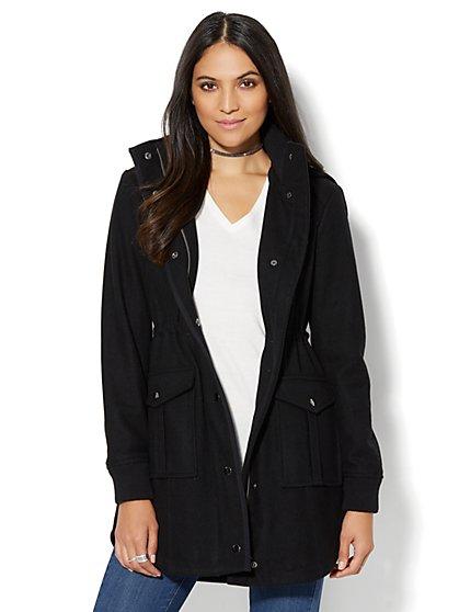 Wool-Blend Hooded Duffle Coat  - New York & Company