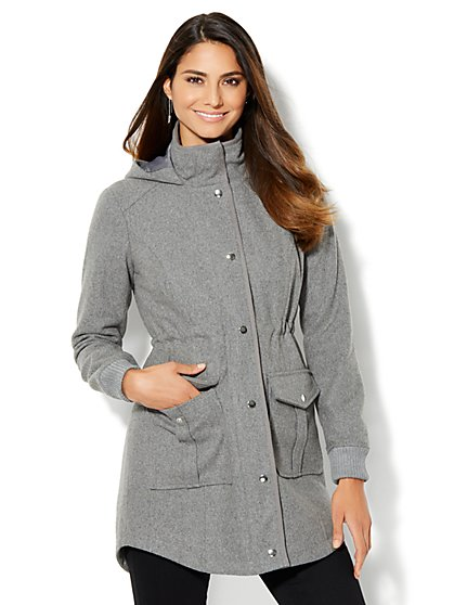 Wool-Blend Hooded Duffle Coat  - New York & Company