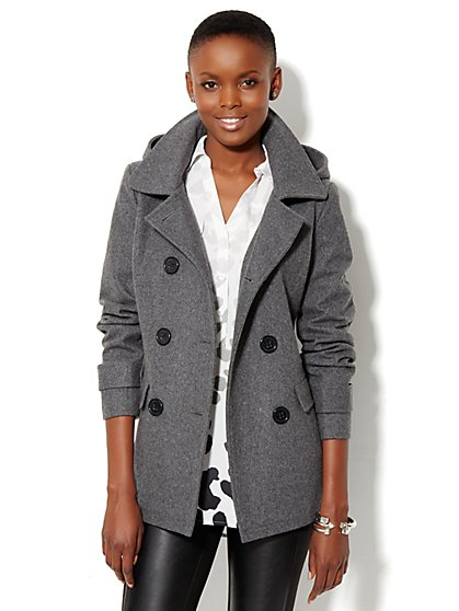 Wool-Blend Hooded Peacoat - New York & Company