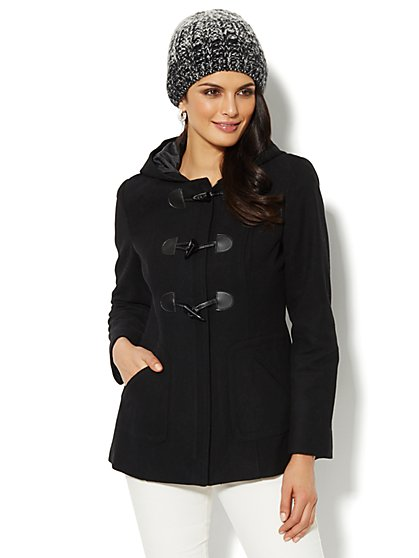 Wool-Blend Hooded Toggle Coat  - New York & Company