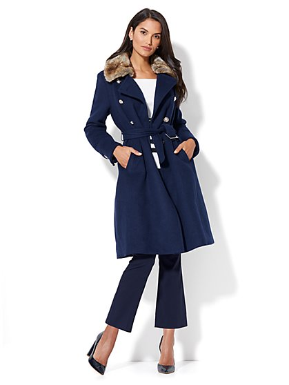 Wool-Blend Military Coat - New York & Company