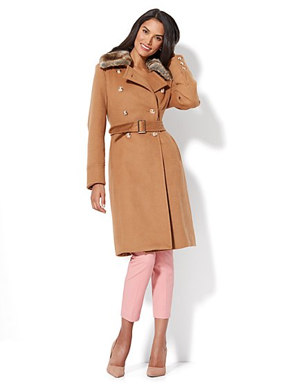 Wool-Blend Military Coat - New York & Company