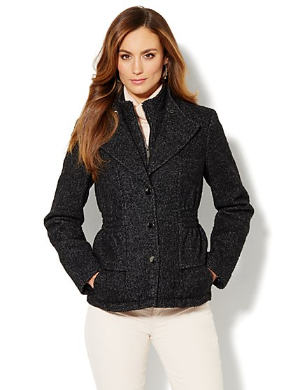 Wool-Blend Peplum Banded-Collar Coat - Tweed - New York & Company