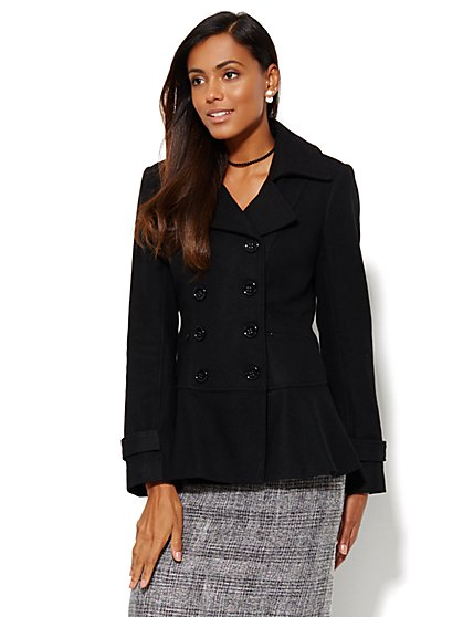 Wool-Blend Peplum Peacoat  - New York & Company