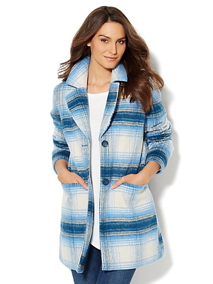 Wool-Blend Plaid Coat - New York & Company