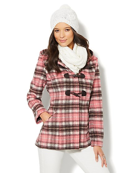 Wool-Blend Plaid Toggle Coat  - New York & Company