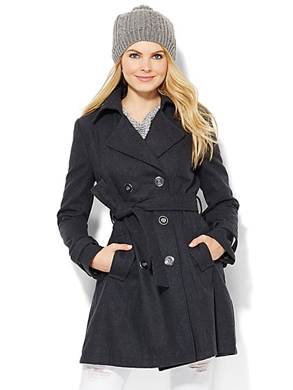 Wool-Blend Trench Coat  - New York & Company