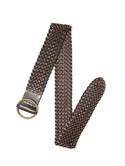 Woven Faux-Leather Belt  - New York & Company