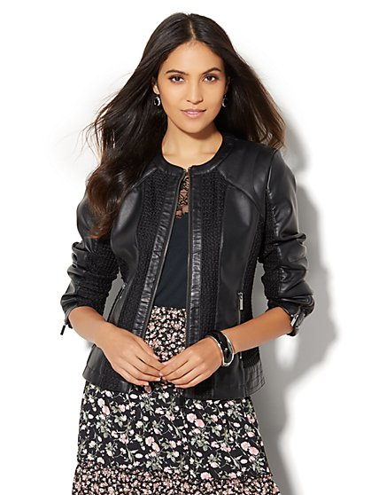 Woven Faux-Leather Jacket - Black  - New York & Company