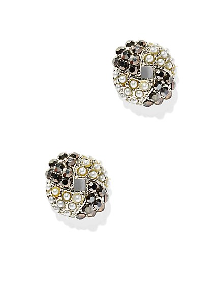 Woven Faux-Pearl Cluster Earring  - New York & Company