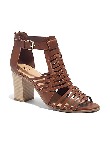 Woven Stacked-Heel Sandal  - New York & Company