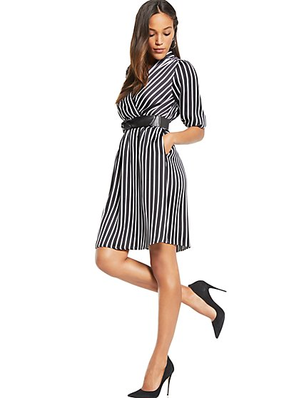 Wrap Dress - Black & White Stripe - New York & Company