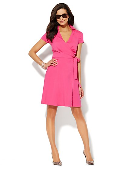 Wrap-Front Belted Shirtdress  - New York & Company