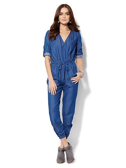 Wrap-Front Chambray Jumpsuit  - New York & Company