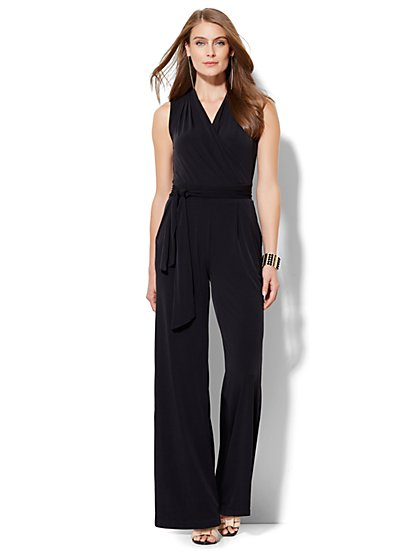 Wrap-Front Jumpsuit - Black  - New York & Company