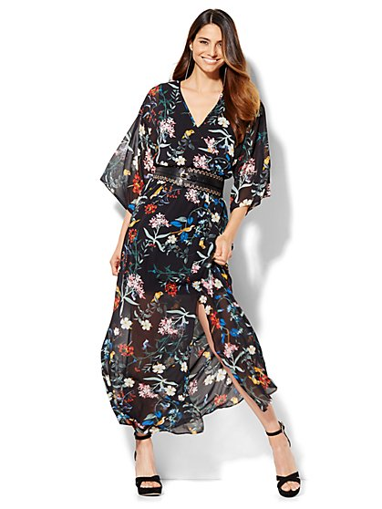 Wrap-Front Maxi Dress - Botanical Print  - New York & Company