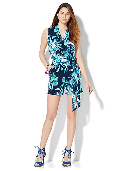 Wrap-Front Romper - Floral  - New York & Company