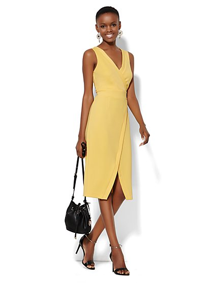 Wrap-Front Scuba Dress - Solid  - New York & Company