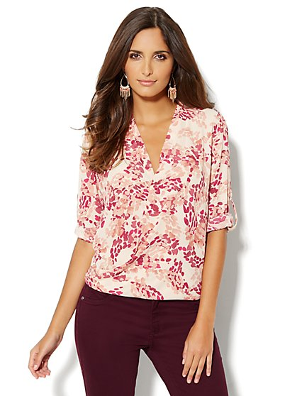 Wrap Hi-Lo Blouse - Abstract Dots - New York & Company
