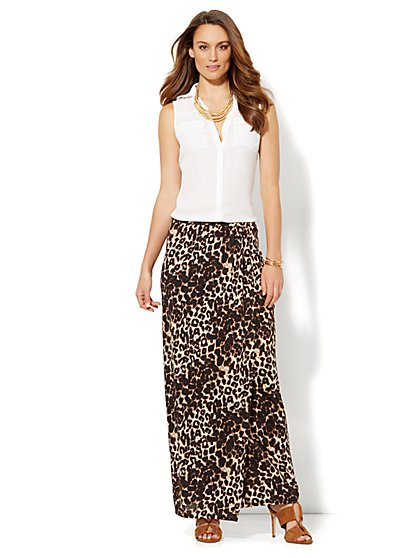 Wrap Maxi Skirt - Cheetah Print - New York & Company