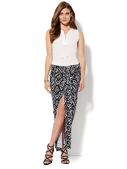 Wrap Maxi Skirt - Ikat Print - New York & Company